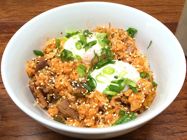 Kimchi Fried Rice soft egg, beef short ribs