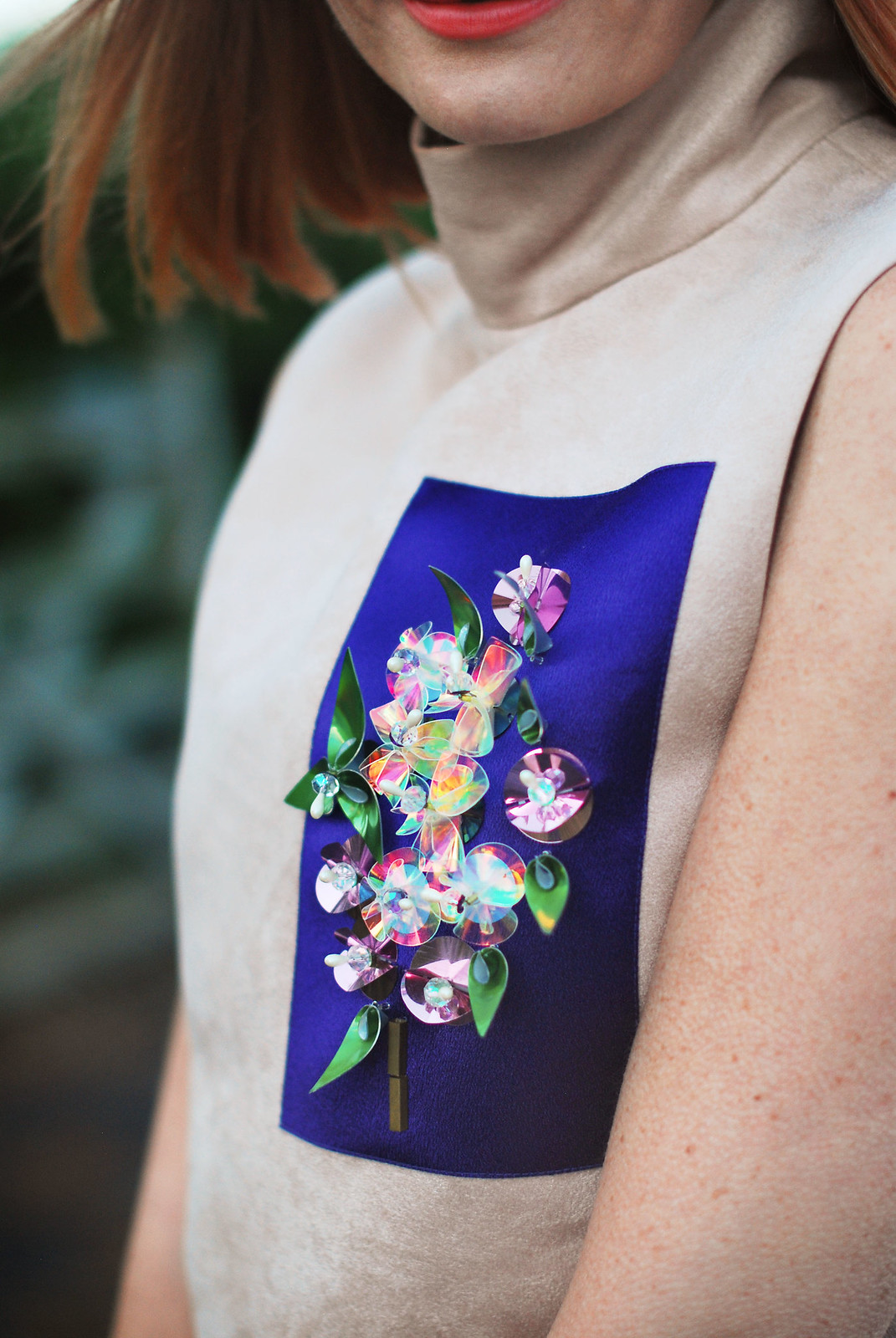 Embellished panel sleeveless tunic detail | Not Dressed As Lamb