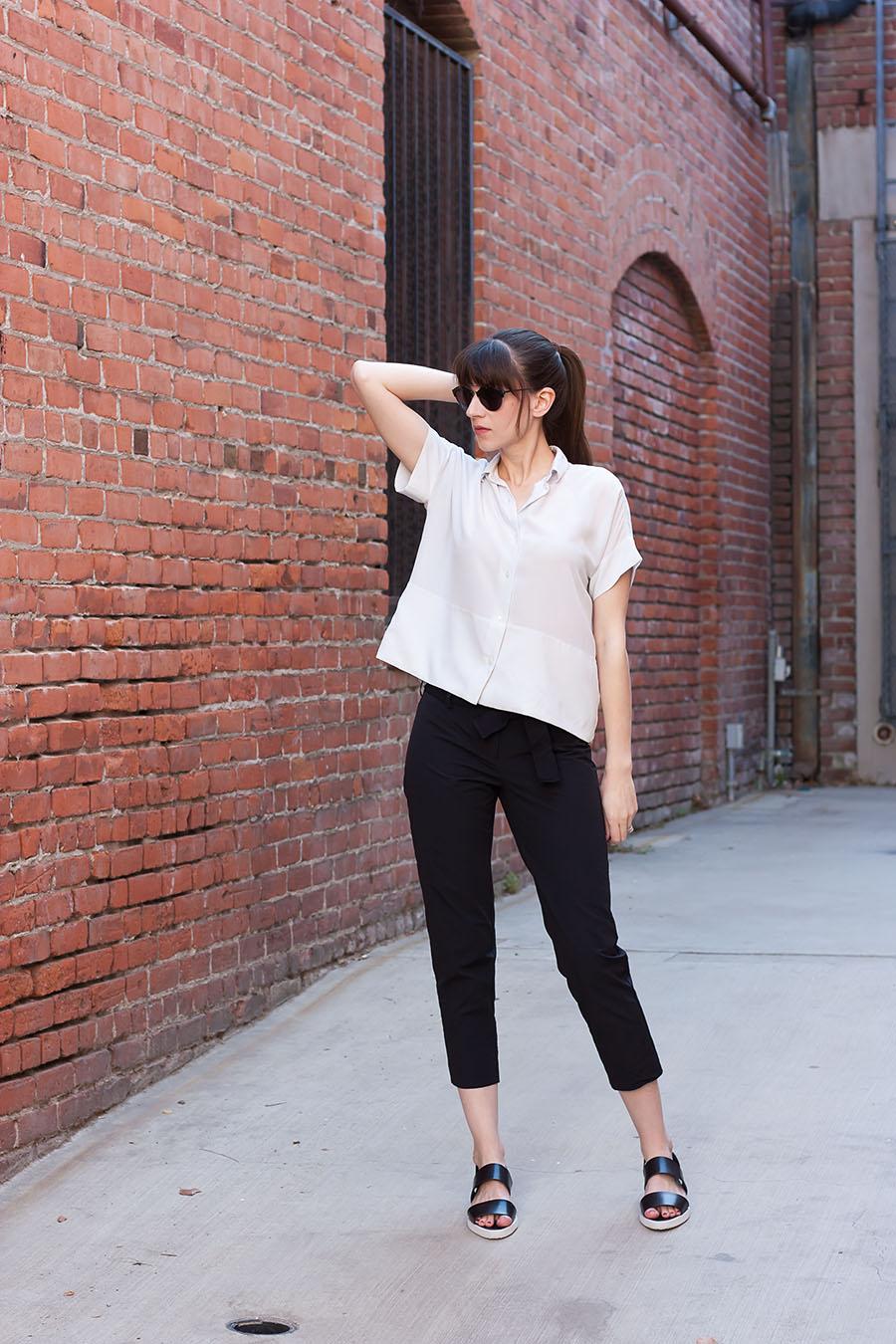 Everlane SIlk Shirt, COS Pants, Everlane Street Sandal, Minimalist Style