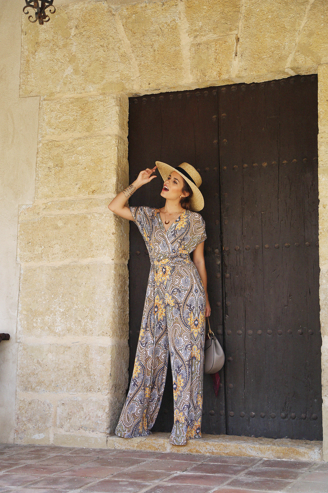 jessie chanes seams for a desire paisley jumpsuit summer hat chloe bag-10