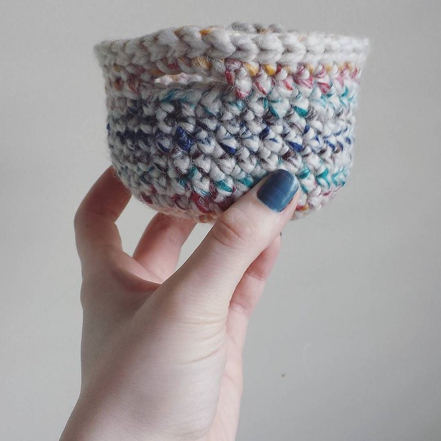 It's a pretty small basket... I love it!!! 💕💕 also love such a quick little project! #crochetgirlgang #crochetersofinstagram #craftastherapy #crochetaddicts #michaels #woolease #chunkycr #crochetbasket