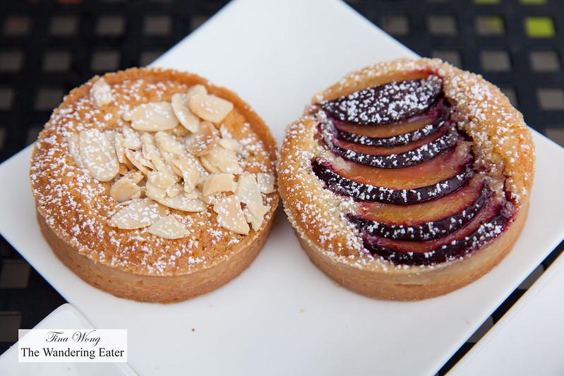 Almond raspberry and plum tartlettes