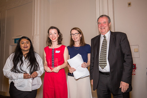 Suri Reddy & Jenna Todd winning Bookseller of the Year for Time Out Bookstore, Catriona Ferguson and Tony Harkins