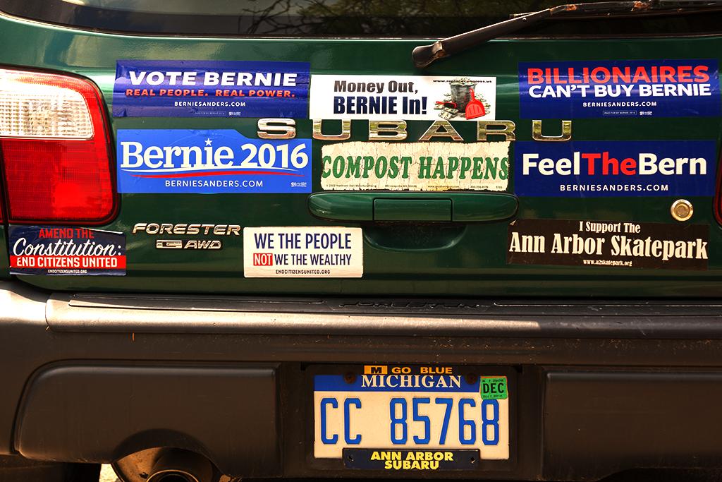 Bernie Sanders stickers--Ann Arbor