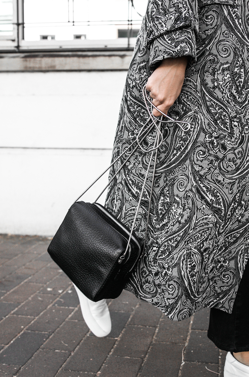 NAKED VICE x MODERN LEGACY affordable luxury bag chain celine like sneakers Ellery paisley coat outfit street style inspo (12 of 19)