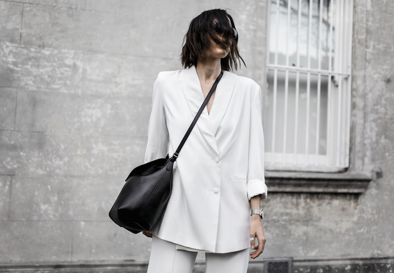 all white suit street style inspo fashion blogger celine Loxley bucket bag sneakers modern legacy minimal Instagram (8 of 18)