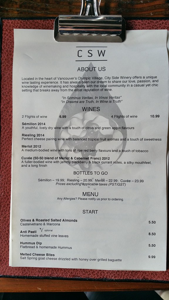 2016-May-25 City Side Winery - food menu 1 of 3