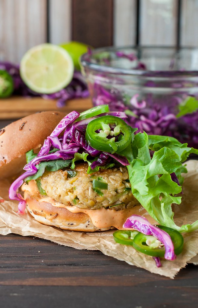 ... ! Spicy Chickpea Veggie Burgers with Jalapeño and Zucchini Slaw