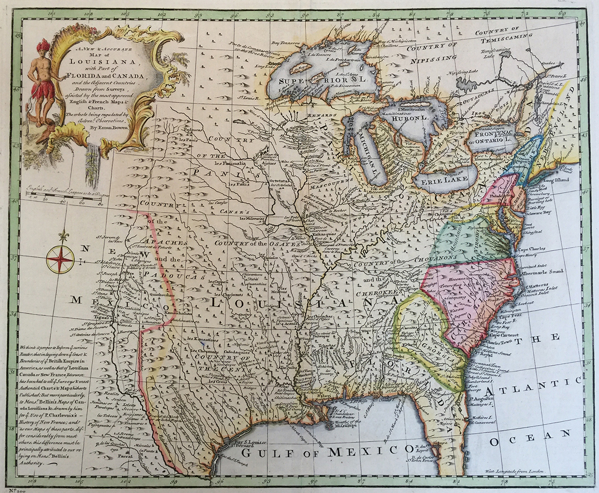 Map: 1752 Bowen's: A new and accurate map of Louisiana
