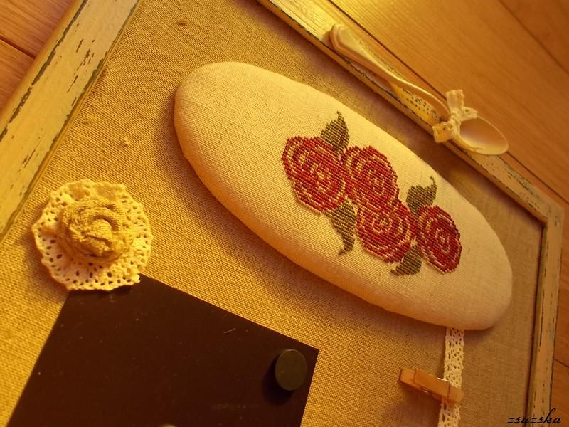 message board, la-d-da, roses, lace, cross stitch, painted frame, (5)