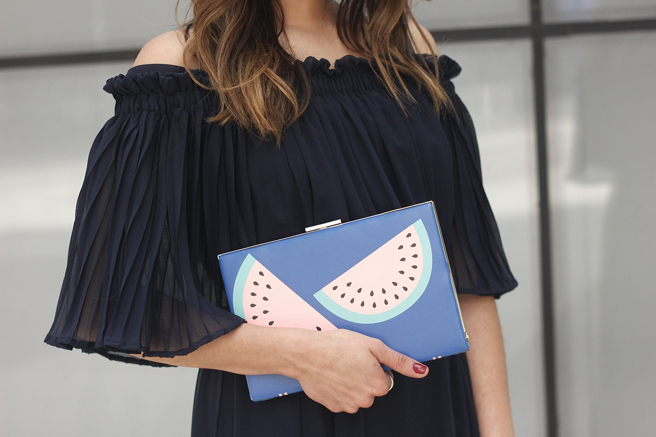 A Midi Dress With Pleated Ruffles heels clutch accessories sunnies fashion outfit summer11