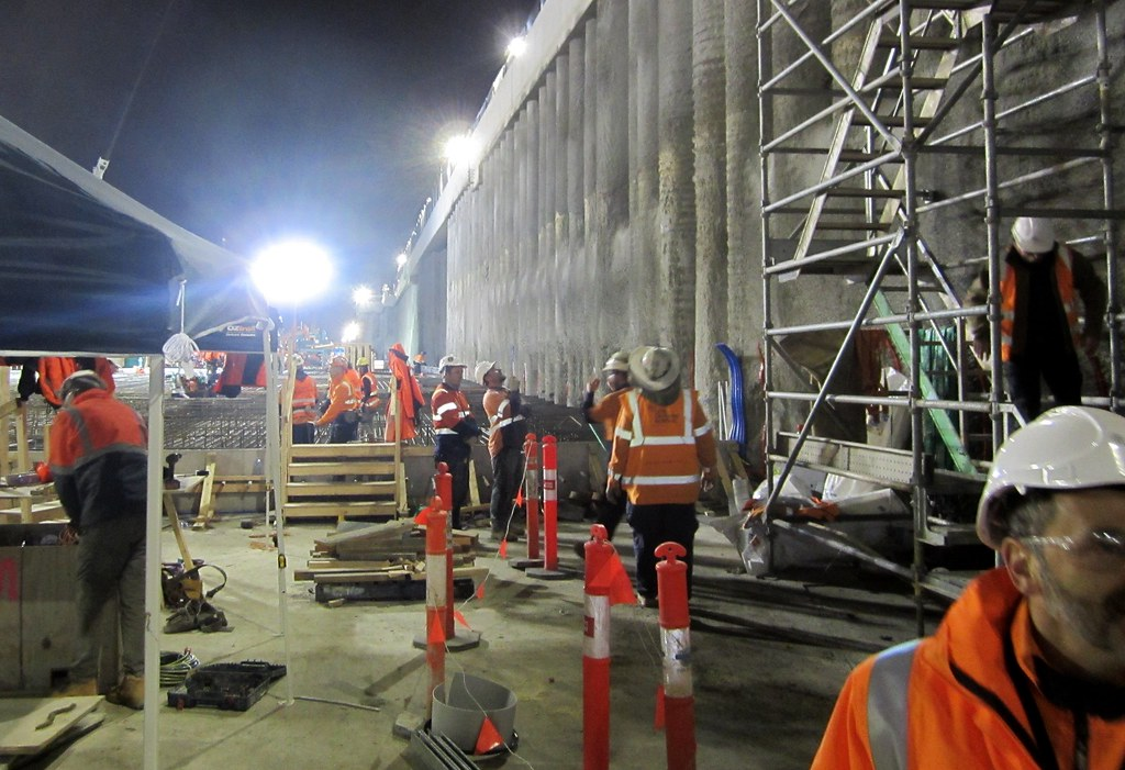 Bentleigh station under construction, July 2016