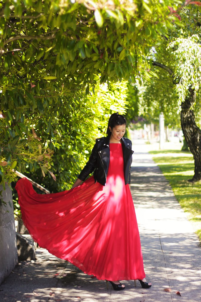 wedding guest outfit red maxi dress