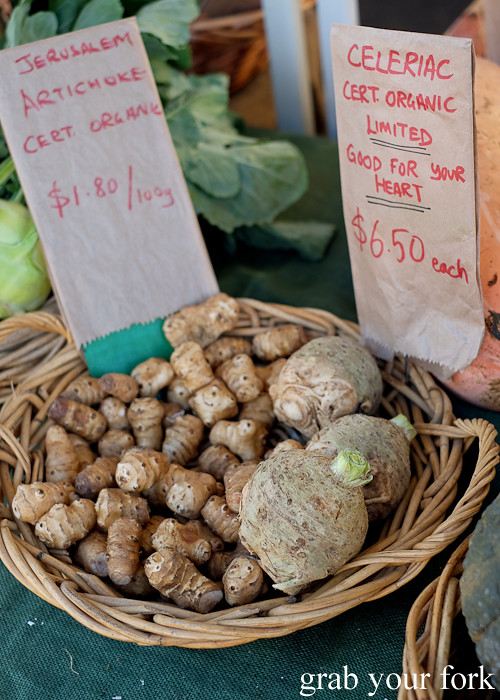 Organic Jerusalem artichokes and celeriac at the Canterbury Foodies and Farmers Market, Sydney