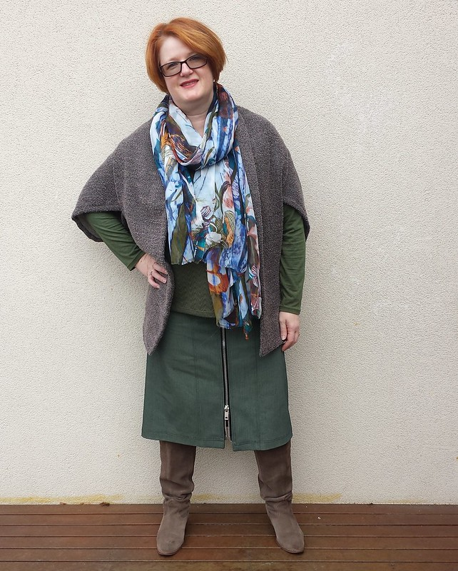Style Arc Goldie skirt and Olive top with Fadanista Sneaky Shrug (all fabrics are remnants)