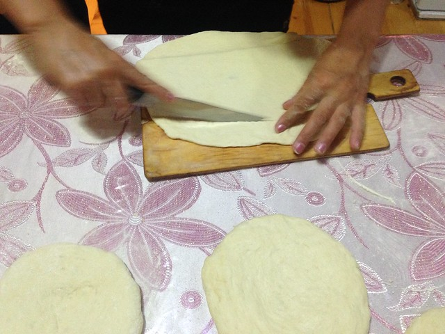 cutting the dough