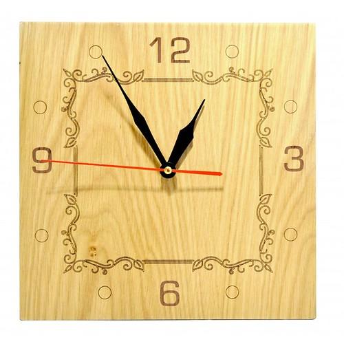 Đồng hồ gỗ hình vuông - hoa văn số 2