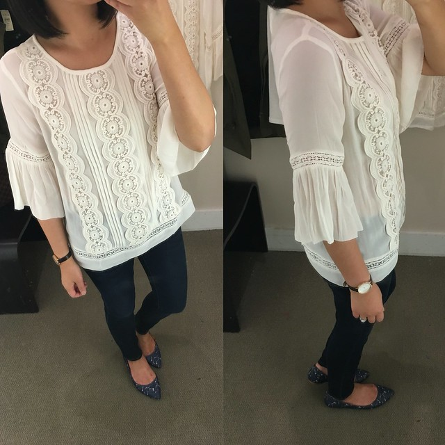 LOFT Lacy Bell Sleeve Top, size SP