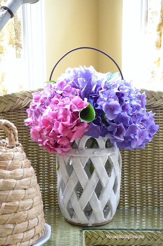 Summer Hydrangeas/Pottery Barn Lantern - Housepitality Designs