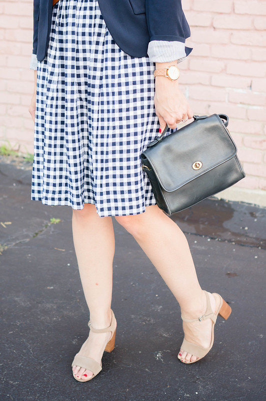 navy gingham dress + navy blazer + knot belt Target + sole society heels | Style On Target blog