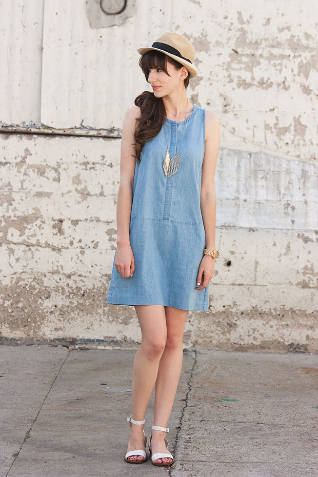 Everlane Chambray Dress, iSanctuary Chevron Necklace, Summer Fedora