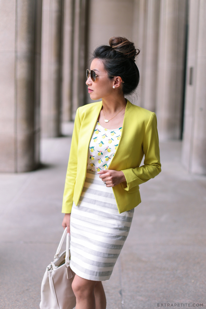 work outfit yellow blazer loft petites striped skirt