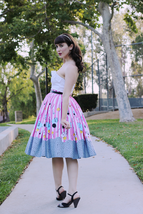 Pinup Girl Clothing Pinup Couture Jenny Skirt in Mary Blair Circus Elephant Print Dixiefried Bustier Top in White Sateen