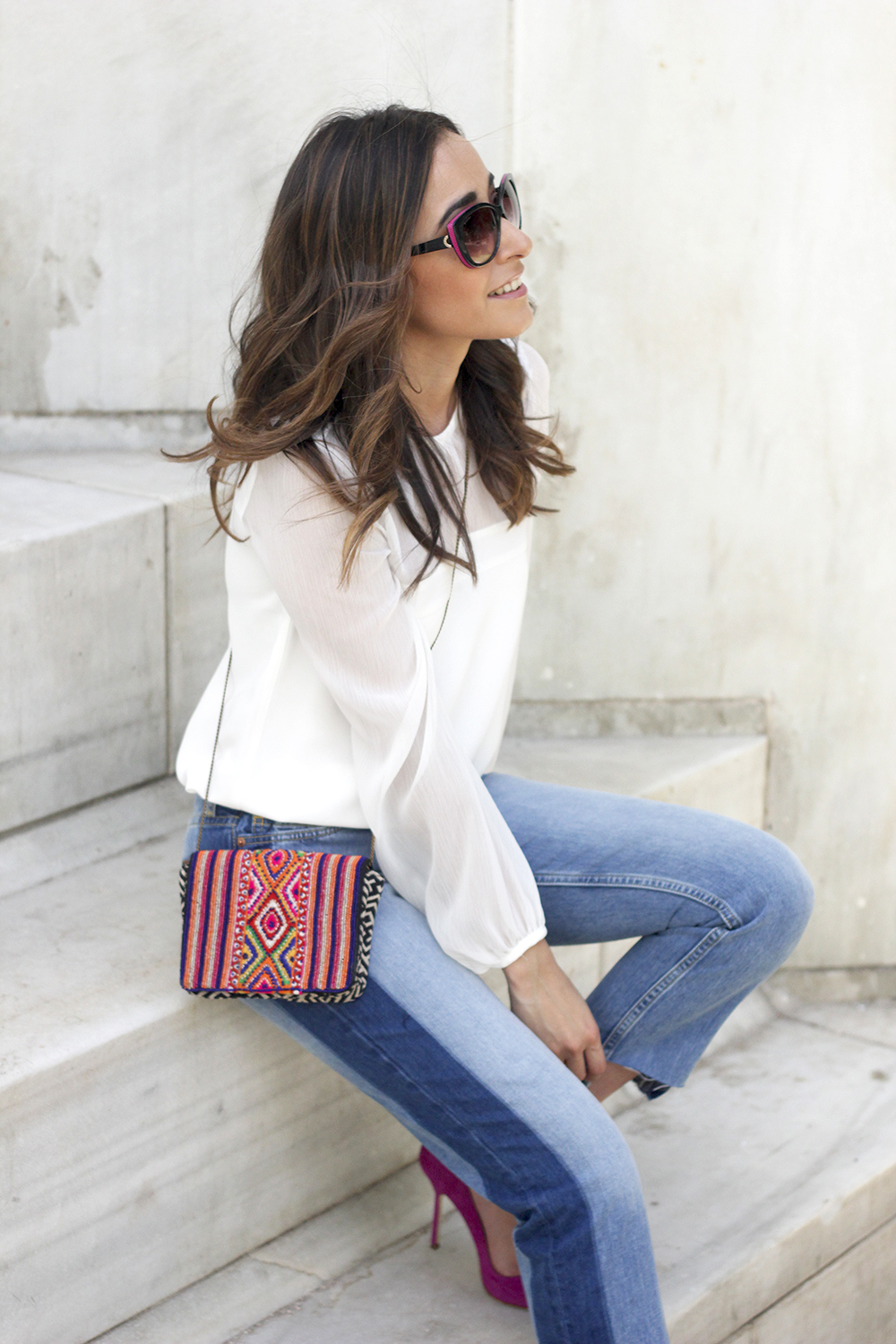 Boyfriend Jeans With Asymmetrical Hems white blouse carolina herrera heels daydaday bag outfit style streetstyle14