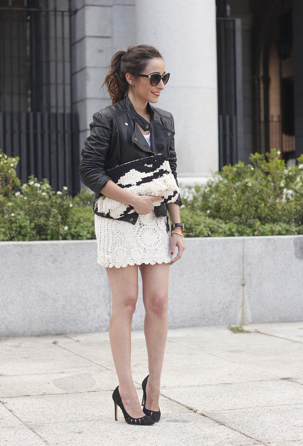 crochet skirt leather jacket black heels sunnies spring outfit style17