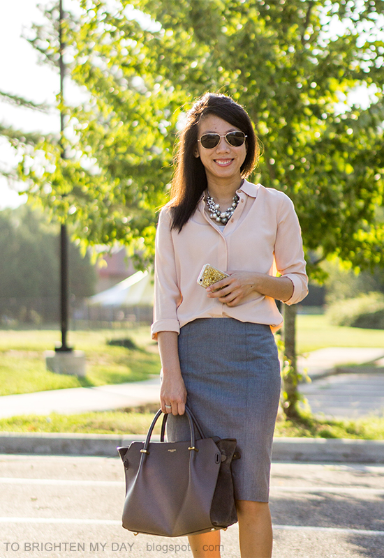 mixed pearl cluster necklace, peach silk button up shirt, gray pencil skirt, gray tote