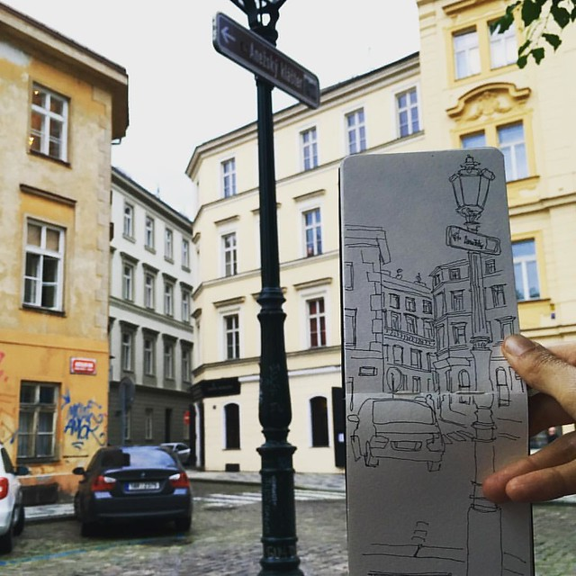 Sketching in beautiful and picturesque #Prague