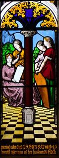 Jane Trimmer Gaye window: symbols of death (by George Hedgeland for Frank Howard, 1852)