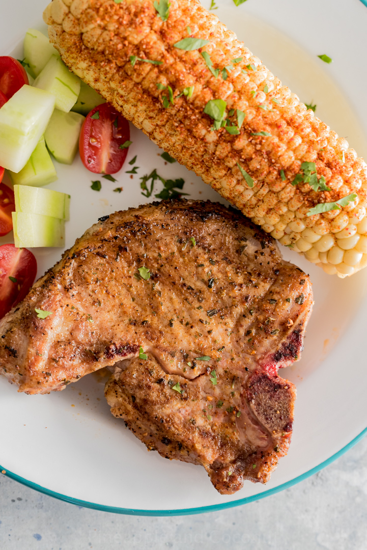 Grilled Pork Chops with Grilled Chile Lime Corn www.pineappleandcoconut.com