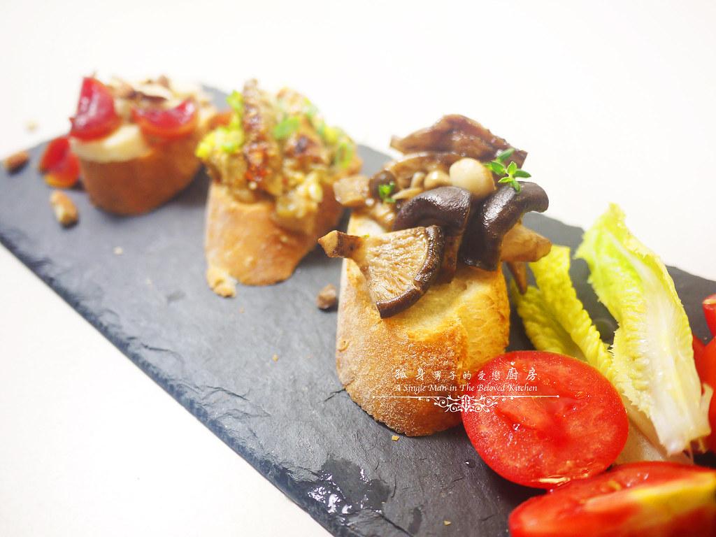 孤身廚房-開放式三明治三式-巴薩米克醋綜合菇、味噌烤茄子、杏仁香蕉桃接李2
