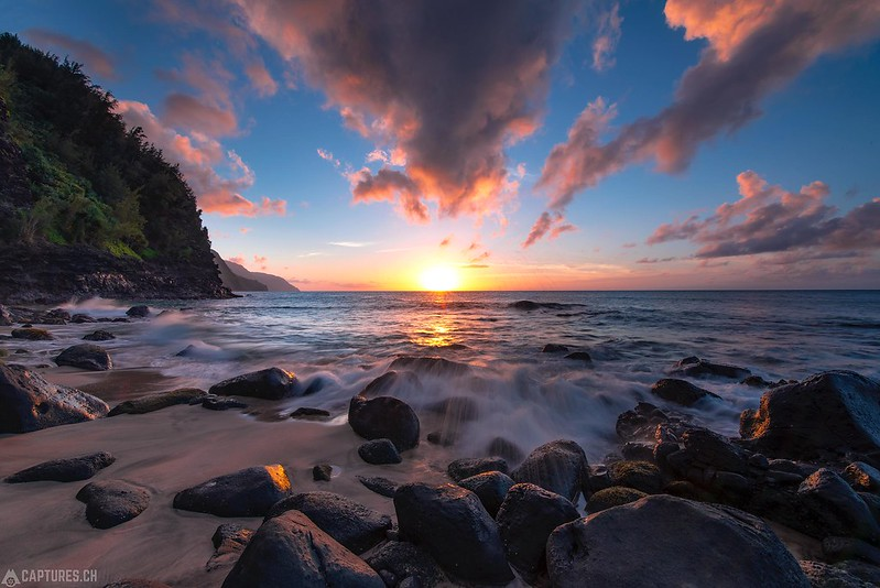 Sunset at Ke'e Beach - Kauai