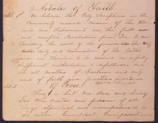 Articles of Faith, 1861