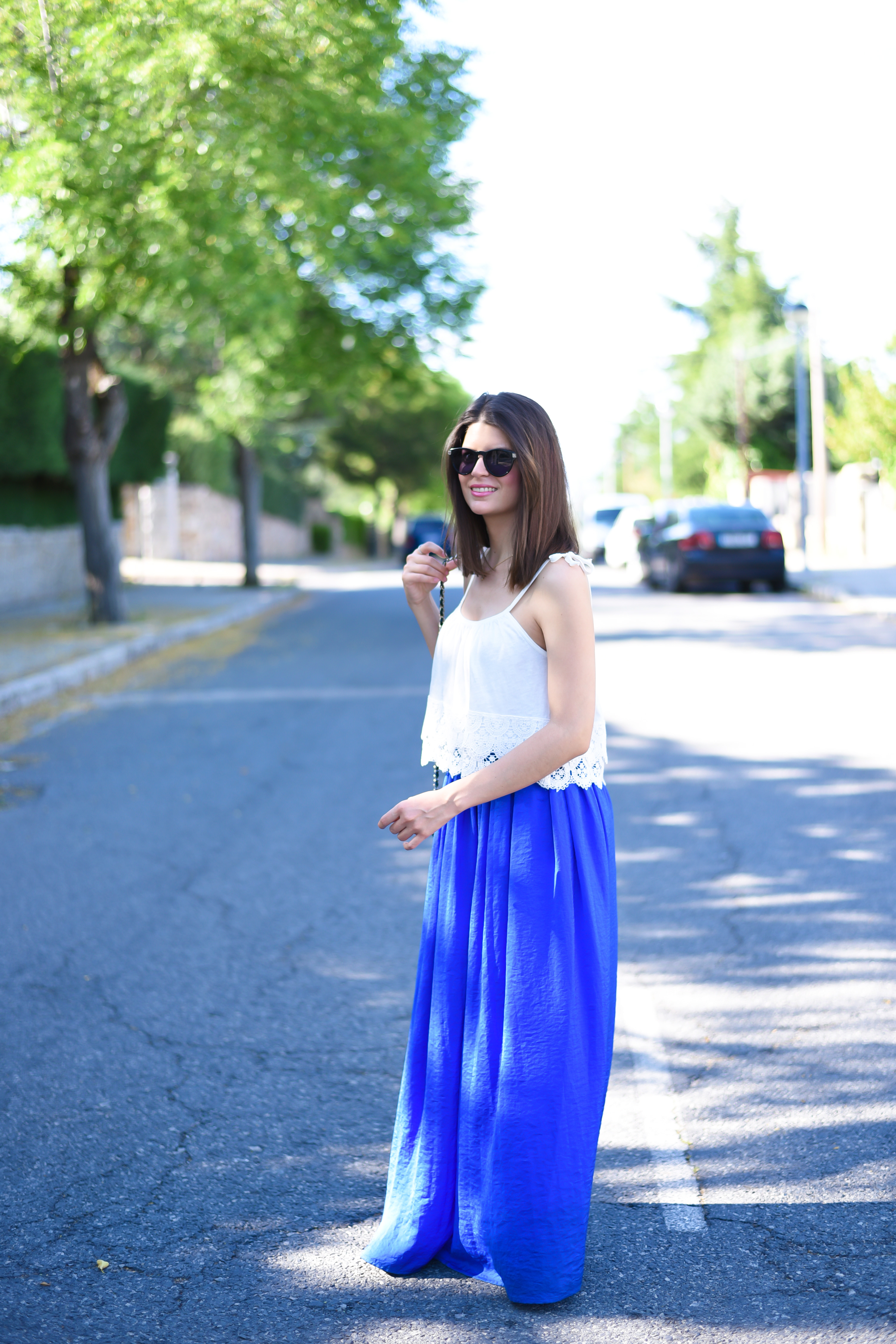 look casual con falda larga