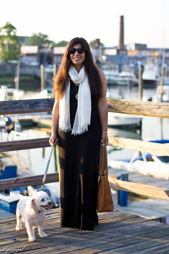 black maxi dress, white scarf, brown leather tote-2.jpg
