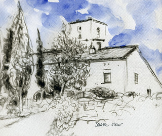 Italy sketchbook: Sovana view | by Laura Frankstone