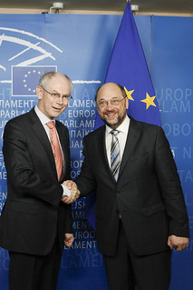 President Van Rompuy shakes hands with President of the European Parliament Martin Schulz, Brussels, 26 April 2012 | by Herman Van Rompuy