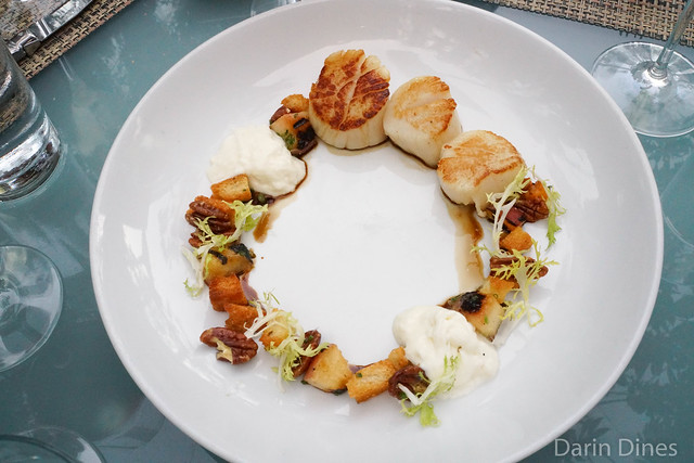 Pan Seared Scallops grilled peach panzanella, burrata, pecans