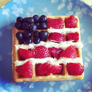 Teaching the kids to celebrate our independence just like our forefathers did.   With flag waffles! | by joeyinteractive