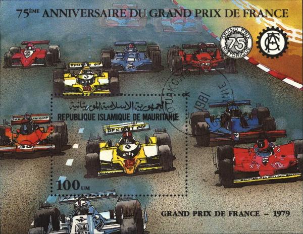 Známky Mauritánia 1982 Grand Prix De France, razítkovaný blok
