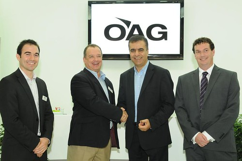 Left to right: Rob Shaw, OAG's Director of Analytics; John Grant, OAG's Executive Vice President; Adel Ali, Air Arabia's Group Chief Executive Officer; and Tony Whitby, Air Arabia's Director of Network, Strategy and International Affairs. | by 8020 Communications