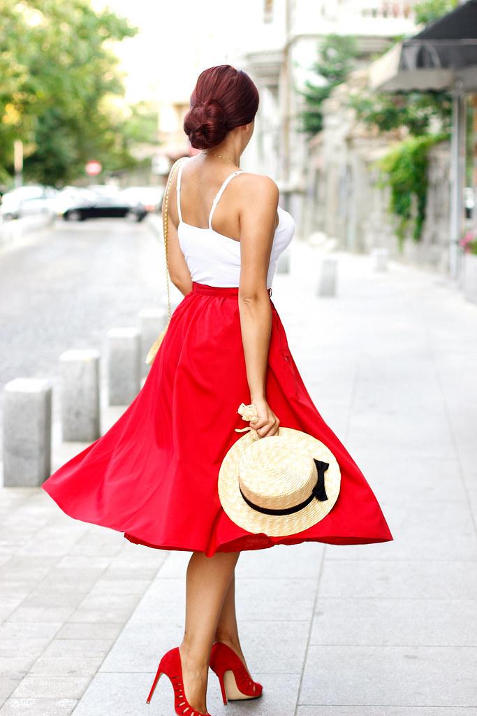 red midi skirt8