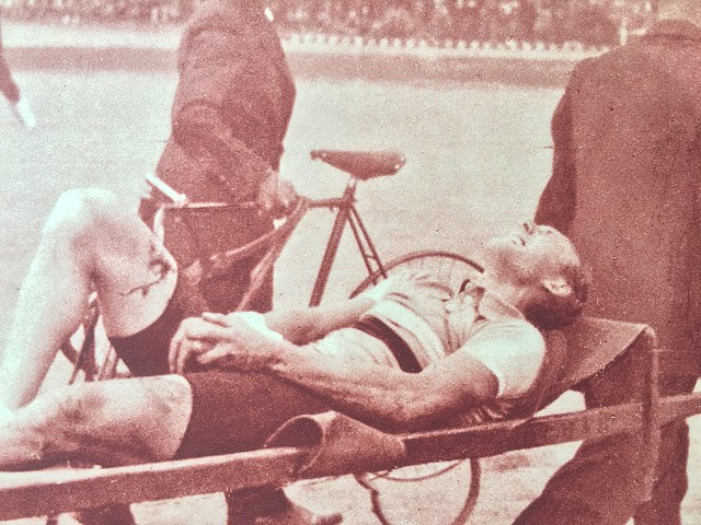 André Leducq (1904 - 1980) carried off of the track at the 1935 World Championships in Brussels Belgium