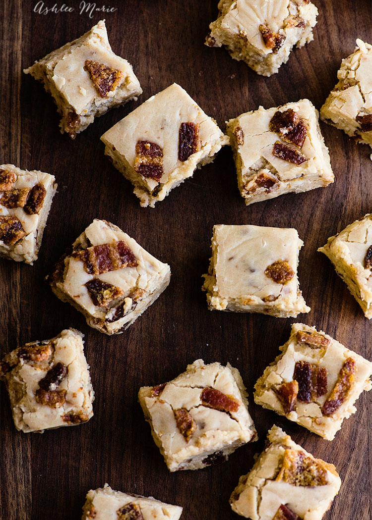 a soft creamy maple fudge with chunks of crunchy candied bacon