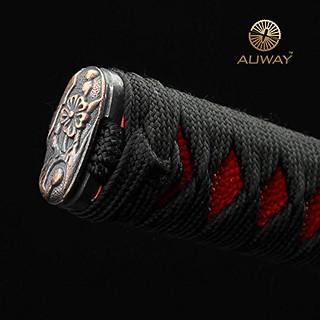auway-samurai-sword-Orchid-Tsuba-Red-scabbard-7