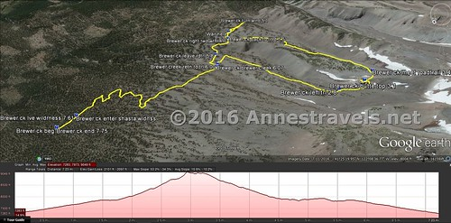 Visual trail map of the Brewer Creek Trailhead (left) to Butte 9000 (right) and then a loop down via an old jeep road (plus a little jaunt to try and find a waterfall - more on that next week!) Shasta-Trinity National Forest, California