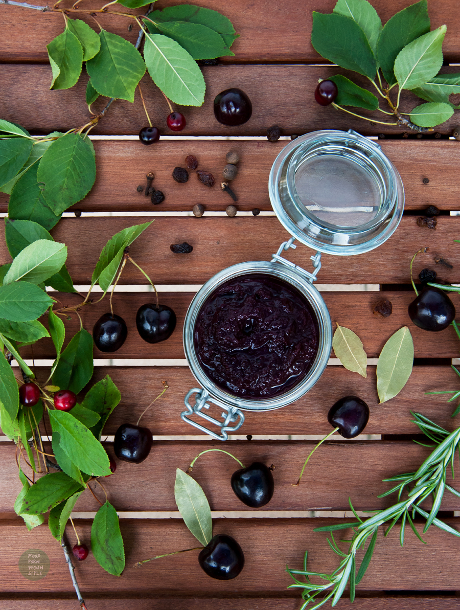 Spicy sweet cherry chutney with black pepper and rosemary